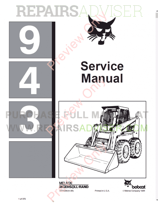 Bobcat 943 Loader Service Manual PDF image #1